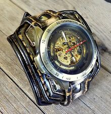 Men's leather watch, Steampunk watch, Leather band, Leather watch cuff,