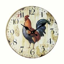 Wall Clock Antique Style kitchen Clock 14-inch Rooster Vintage Wood Wall Clock
