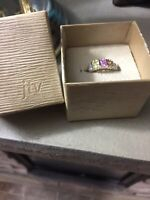 Multi Color Stone Ring Sterling Silver Size 8