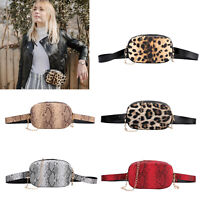 Snake Chain Shoulder Waist Bags Fanny Belt Packs Women Crossbody PU Chest Bags