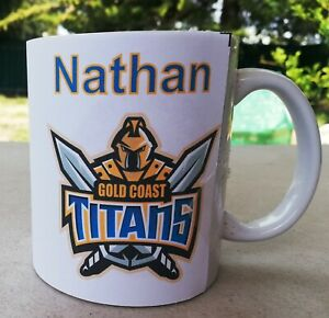 Personalised Mug - NRL Gold Coast Titans - Your name on top