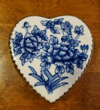 Vintage Delft Heart Shaped Filigree Jewelry Box with Mirror, Silver