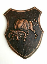 Holz Wandtafel, Hand schnitzen, Wandbehang Wohndeko, Buffalo