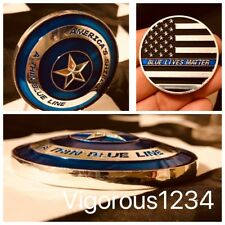 THIN BLUE LINE Police SWAT Captain America Shield Flag Challenge Coin LAPD NYPD