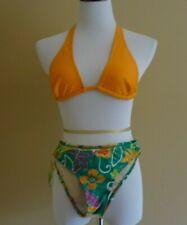 NWT Opa Locka Brasil Bikini 2 Piece Set Green Orange Swimsuit size 36-38 (S)