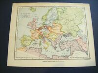 Original 1899 Antique Map of EUROPE in 1730 - Boundary of The Empire