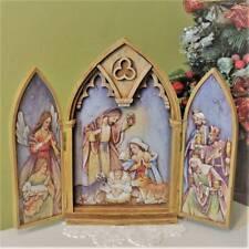 Nativity Set Scene Tryptych 11 inch Doors Open Reveal Baby Jesus Kings Triptych