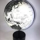 black and white globe earth on spindle modern art deco minimalism 13 Inches High