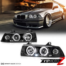 For 92-98 BMW E36 3-SERIES 2-Door Coupe Black Halo Angel Eye Projector Headlight