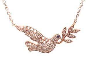 Beautiful Pigeon Pendant Necklace & Chain Rose Gold w/ Diamonds & Sapphire