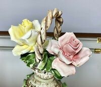 """Vintage Signed Capodimonte Italy Hand Painted Porcelain Basket W Roses 4.5"""" x 5"""""""