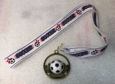 Soccer Medal with Soccer Ribbon Youth Die Cast Medal Ships 2-3 Day Mail Same Day
