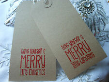 10 Buff  Merry Little Red Christmas Gift Tags Handmade Vintage Style