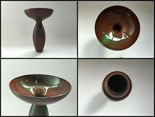 Japanese Copper Flower Vase Kabin Vtg Metal Ikebana Bonsai Wide S479