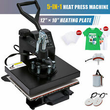 5 In 1 T Shirt Heat Press Machine W 12x10 Heat Pad For Shirts Cups Plates More