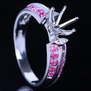 Round 6-6.5mm Cut 14K White Gold Natural Diamonds&Rubies Semi Mount Wedding Ring