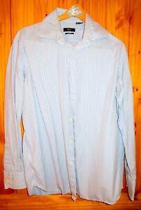 Hugo Boss Button Down Blue striped Dress Shirt 16.5 34/35 Barrel Cuff Cederic
