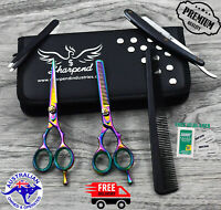 """Professional Barber Hairdressing Scissors Thinning & Hair Cutting Set 5.5"""" Multi"""