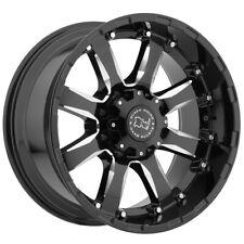 "4-Black Rhino Sierra 20x9 8x165.1 (8x6.5"") +12mm Black/Milled Wheels Rims"