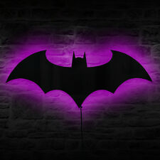 Batman Multi-colored LED Wall Light Batman LED Sign Bat Logo Mirror Wall Art