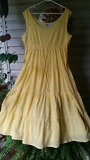Women's Collections Etc Long Yellow Tiered Dress Lined Sleeveless  L Large