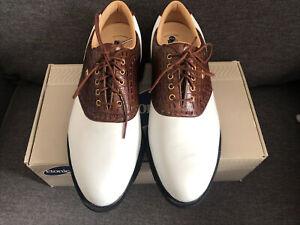 Etonic Golf Shoes UK 9.5 Width M White Brown Dri-Lite 400 BNIB
