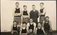 Real Photo Postcard RPPC ~ Boy's High School Basketball Team K.H.S.1917 ~ Sports