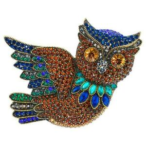 Signed Heidi Daus WISE GUY OWL Crystal Brooch Pin BEAUTIFUL CRITTER COLLECTION!!
