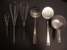 MIXED LOT OF 6 USED STAINLESS STEEL COOKING UTENSILS SET IN GOOD CONDITION
