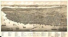 1879 A. RUGER, BIRD'S EYE VIEW OF HALIFAX, NOVA SCOTIA, CANADA, COPY POSTER MAP