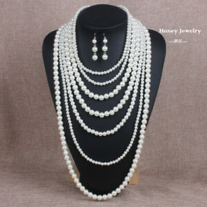 Large Long Beads Fashion Geometric Necklace (creamy-white) -creamy-white Pearls