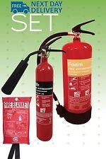 Fire extinguisher set (2kg CO2 + 6ltr AFFF Foam) Home Office Workplace + blanket