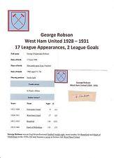 George Robson West Ham United 1928-1931 MOLTO RARA firmato originale taglio/Card