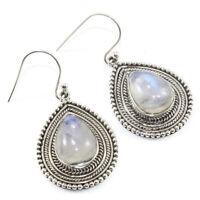 Solid 925 Sterling Silver Rainbow Moonstone Gemstone Dangle Earring Jewelry