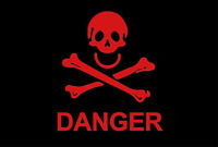 PIRATE FLAG 5' x 3' Red Danger Skull and Crossbones Warning Festival Party Flags