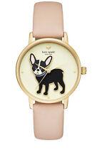 "Kate Spade Grand Metro ""Antoine"" French Bulldog lather strap watch, 38mm NWT!"