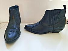 Cowboy Wrangler Size 8 Western Boot Mid Leather Black Twin Gusset Cuban Heel