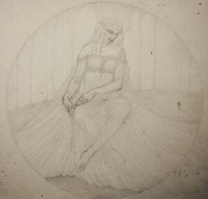 Kathleen Pearson (1898-1961) drawing seated female figure, mythology, fantasy