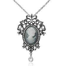 Women Lady Jewelry Cameo Crystal Pendant Necklace Sweater Chain Wedding Bridal