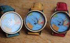 New world map watch for ladies. Yellow, Red, Green strap available.