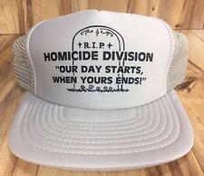 Vintage Novelty Police Trucker Hat Homicide Division Snapback RIP