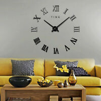 Modern DIY Roman Number Wall Clock 3D Mirror Surface Sticker Home Wall Decor