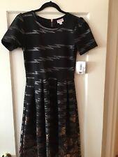 Lularoe Black Silver Floral Rose Dipped Amelia Dress Pockets Size Medium