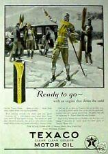 1927 Texaco Clean Clear Golden Motor Oil, Snow Skiing ODDBALL Sports Item AD
