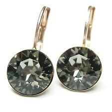 NUOVO Orecchini Rosegold 8mm swarovski pietre Black Diamond/Nero-Grigio Orecchini