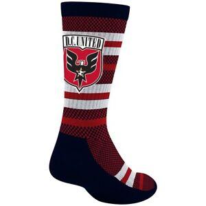 D.C. United MLS Adidas Men's Stripe Polka Dot Pattern Red Performance Crew Socks