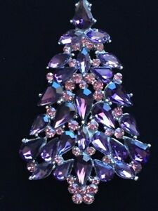 "Multi Purple Lavender Austrian Crystal CHRISTMAS TREE BROOCH JEWELRY 2.5"" LRG"