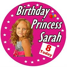 GIRLS BIRTHDAY PRINCESS PERSONALISED BADGE, NAME, AGE, COLOUR & PHOTO / GIFTS