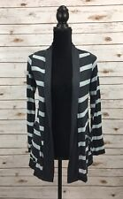 Mod Lusive Gray Womens Size Xs Stripe-print Open-front Cardigan $42 D6-31