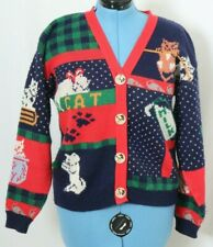 Vintage Sweater Loft Navy Knit Holiday Kitty Cat Button Up Sweater Women's M